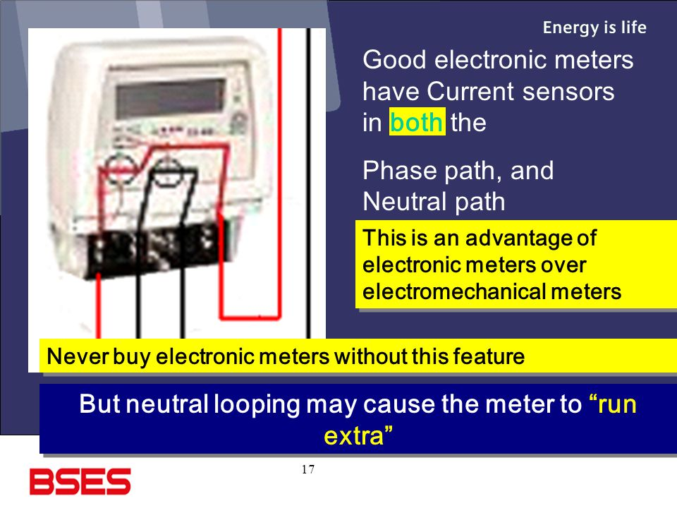 But neutral looping may cause the meter to run extra