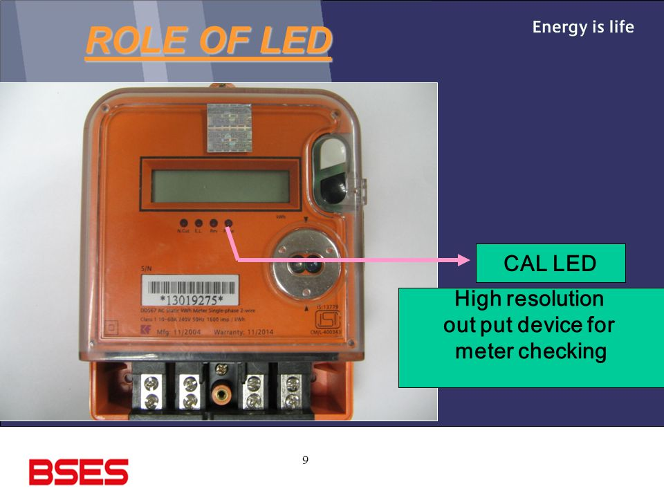 ROLE OF LED CAL LED High resolution out put device for meter checking