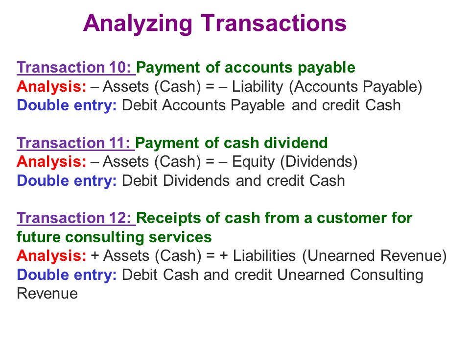 Analyzing Transactions