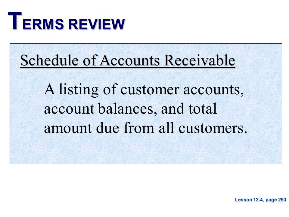 TERMS REVIEW Schedule of Accounts Receivable