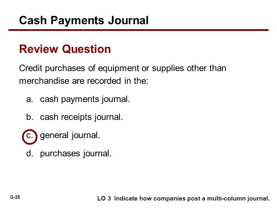 Cash Payments Journal Review Question