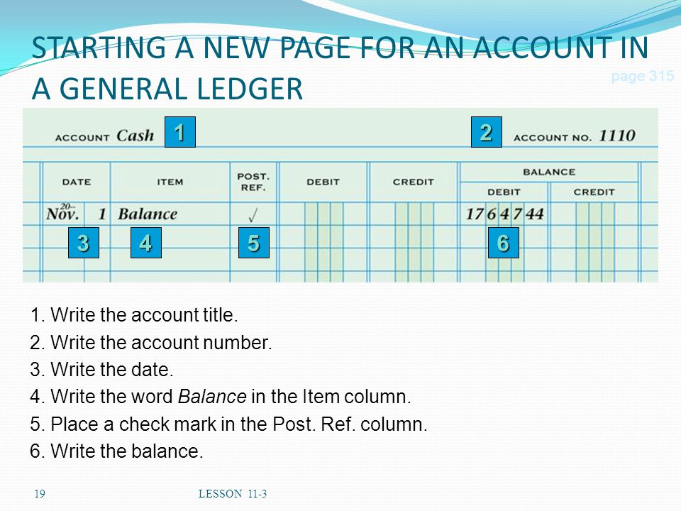 STARTING A NEW PAGE FOR AN ACCOUNT IN A GENERAL LEDGER