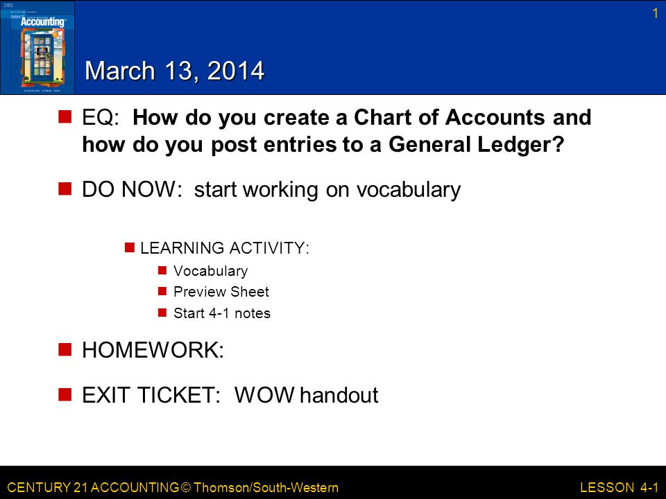 March 13, 2014 EQ: How do you create a Chart of Accounts and how do you post entries to a General Ledger
