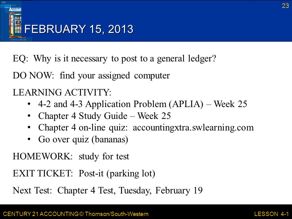 FEBRUARY 15, 2013 EQ: Why is it necessary to post to a general ledger
