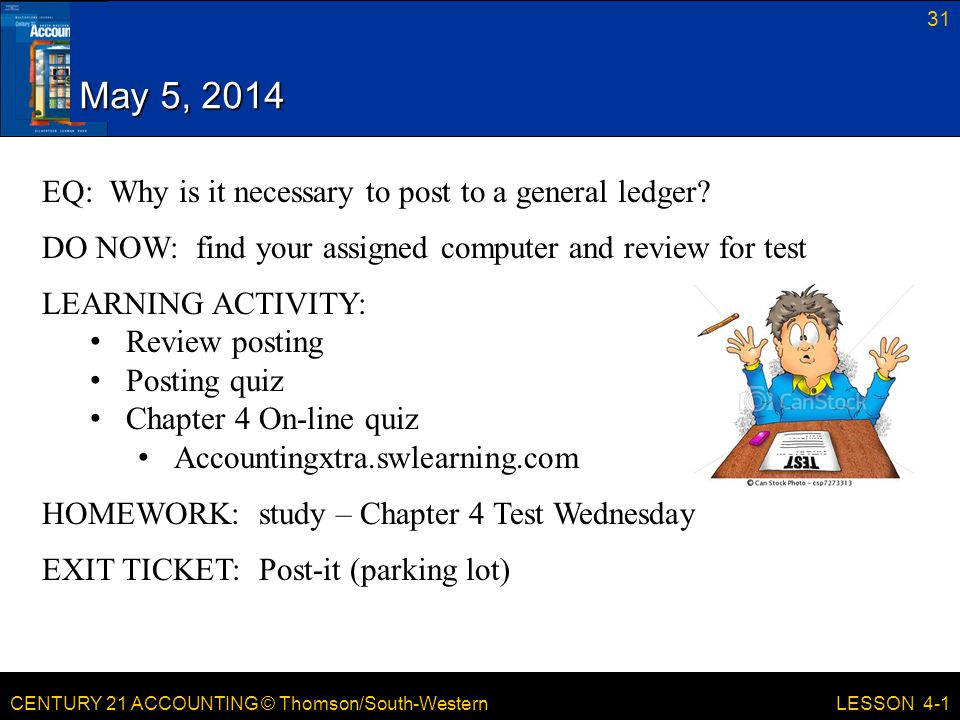 May 5, 2014 EQ: Why is it necessary to post to a general ledger