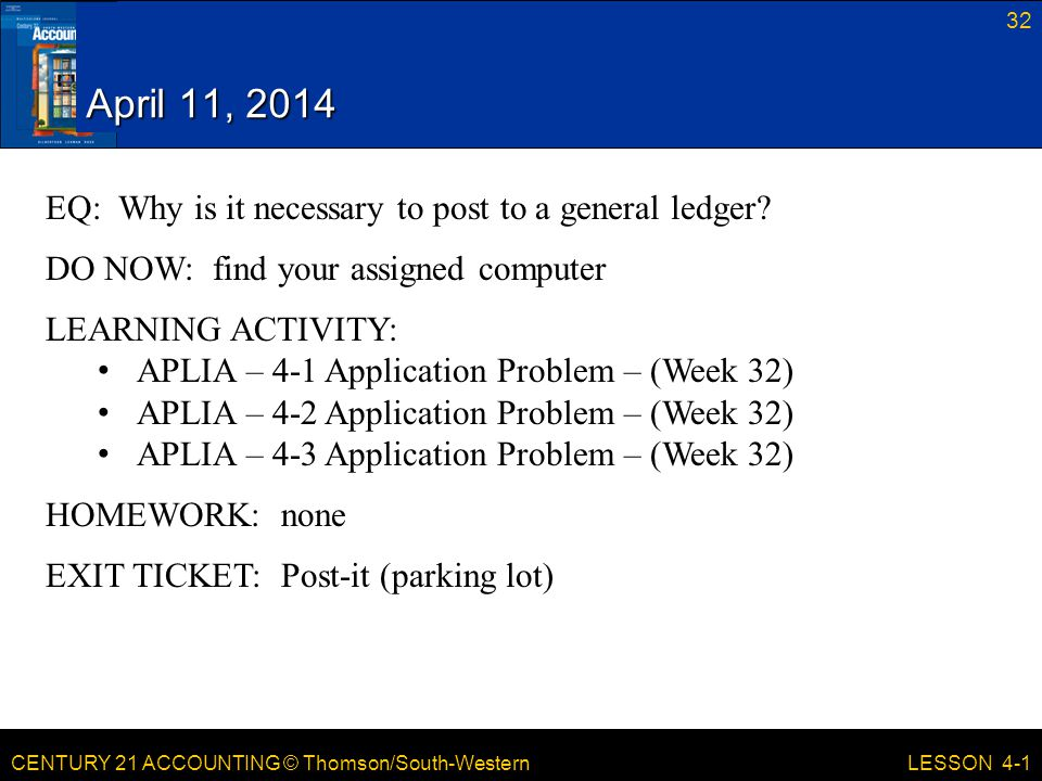 April 11, 2014 EQ: Why is it necessary to post to a general ledger