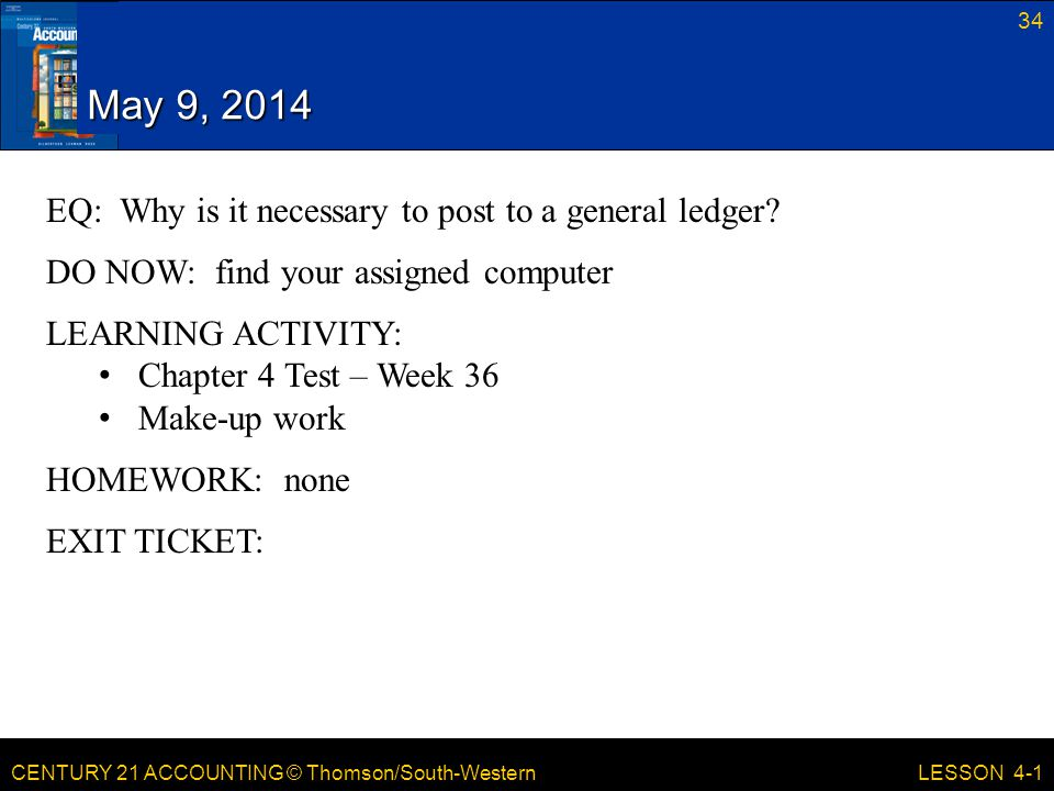 May 9, 2014 EQ: Why is it necessary to post to a general ledger