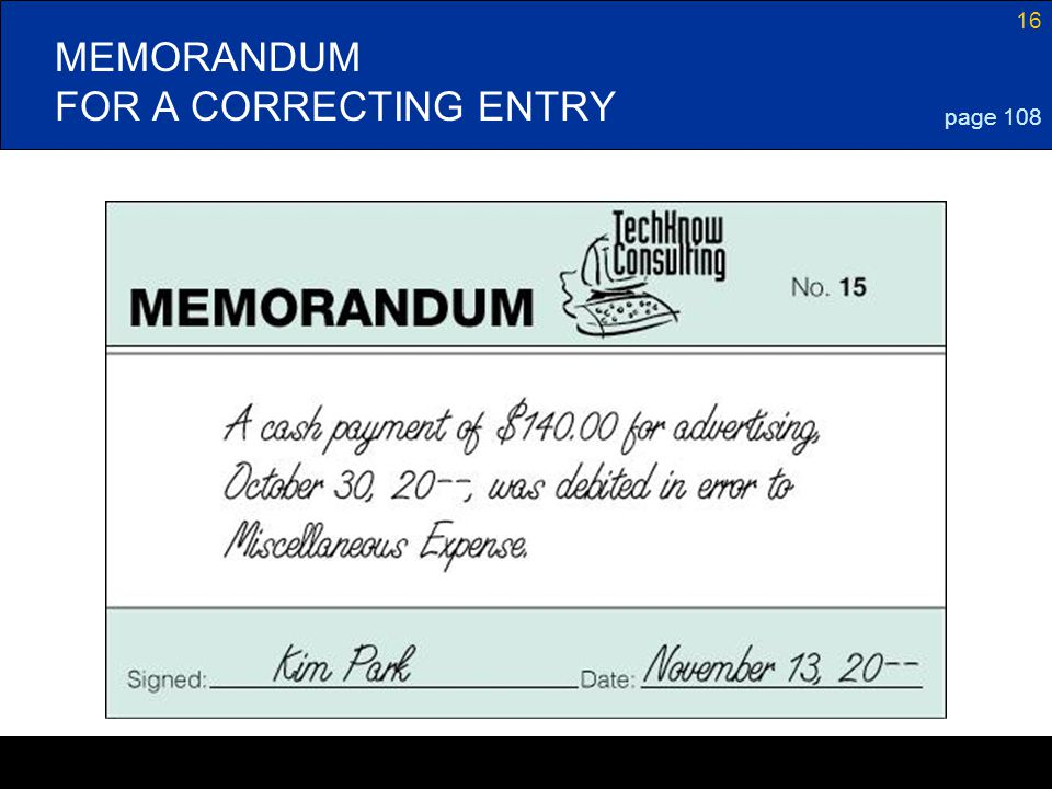 MEMORANDUM FOR A CORRECTING ENTRY