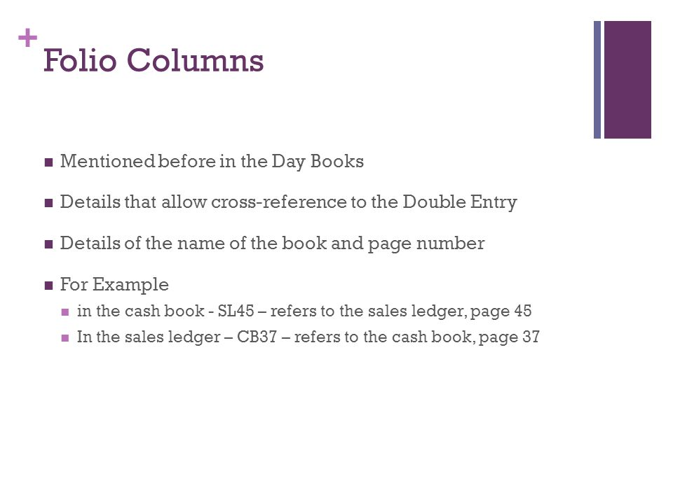 Folio Columns Mentioned before in the Day Books