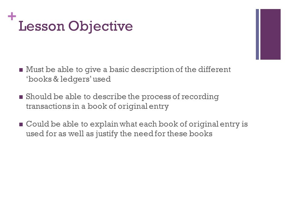 Lesson Objective Must be able to give a basic description of the different 'books & ledgers' used.