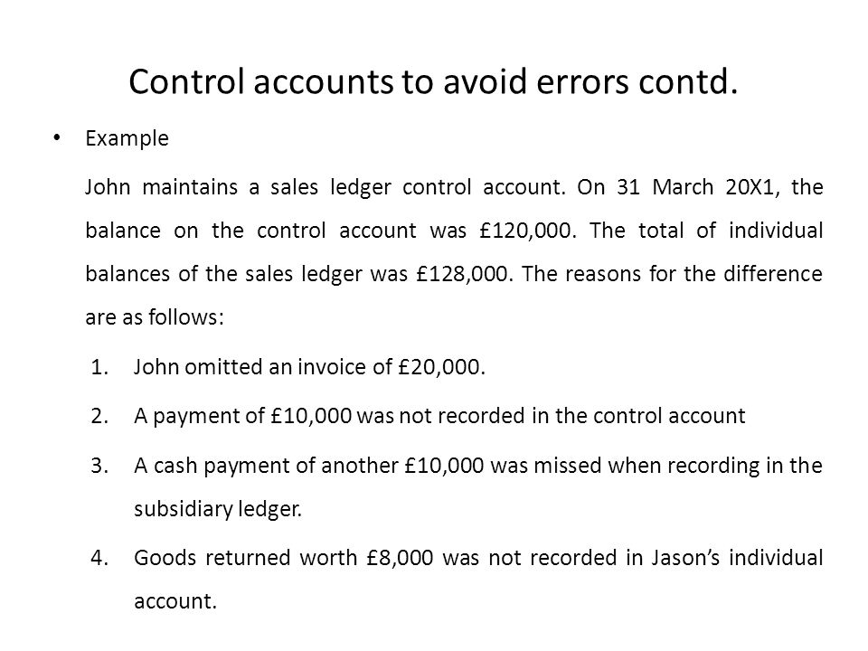 Control accounts to avoid errors contd.
