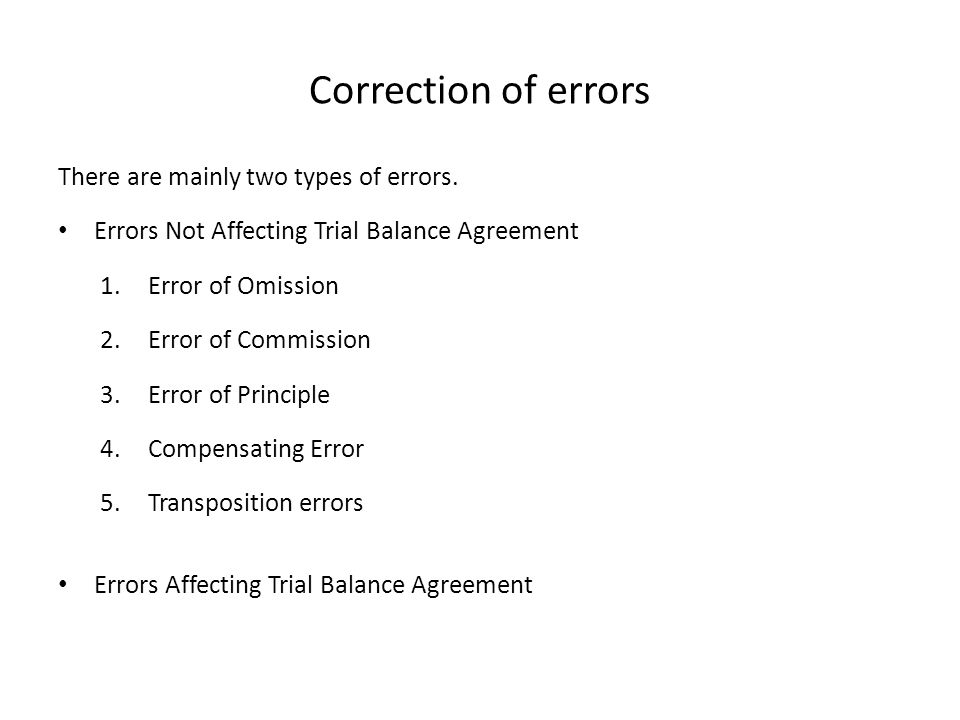 Correction of errors There are mainly two types of errors.