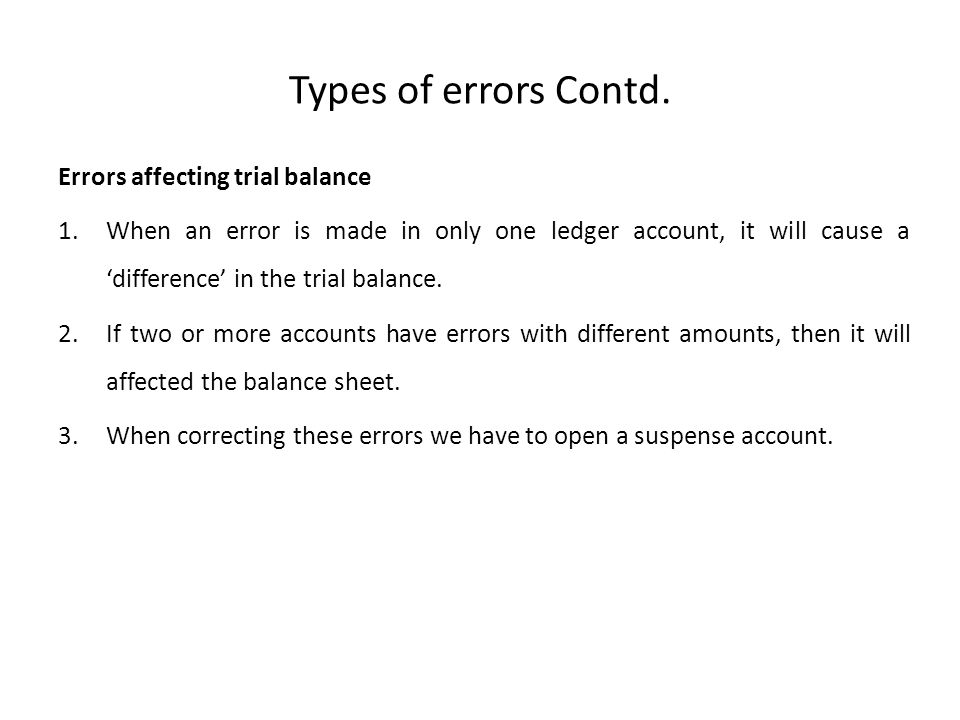 Types of errors Contd. Errors affecting trial balance