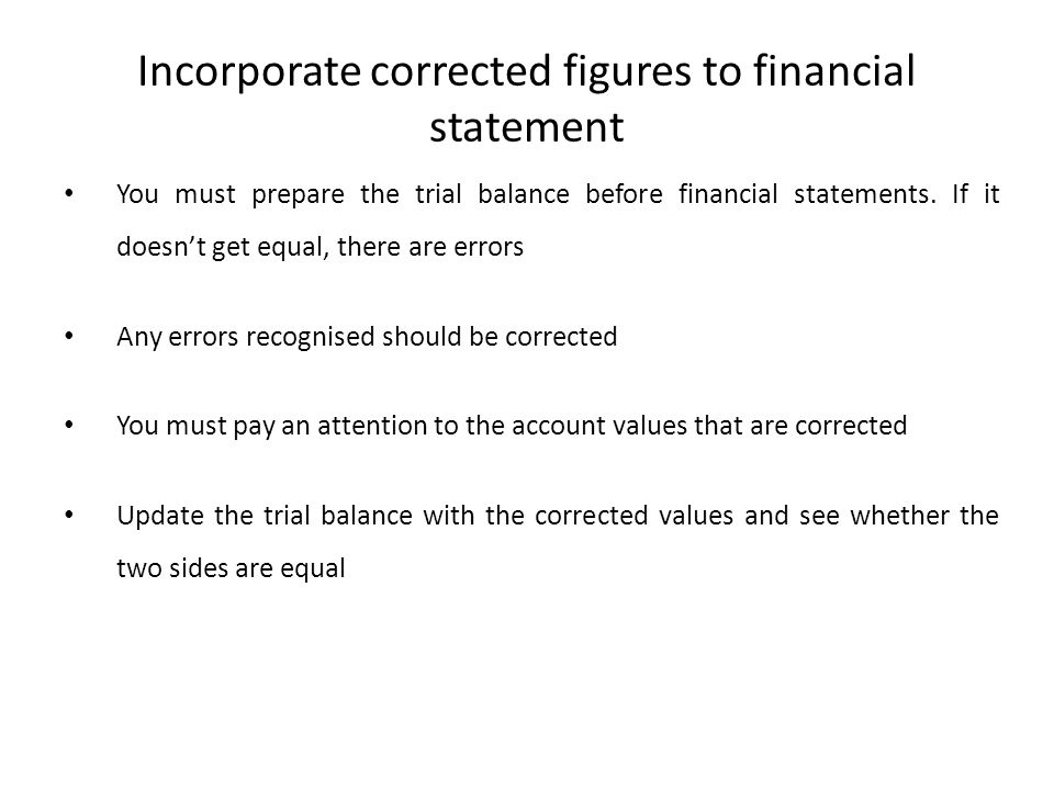 Incorporate corrected figures to financial statement