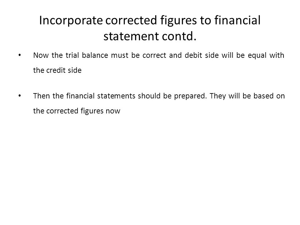 Incorporate corrected figures to financial statement contd.