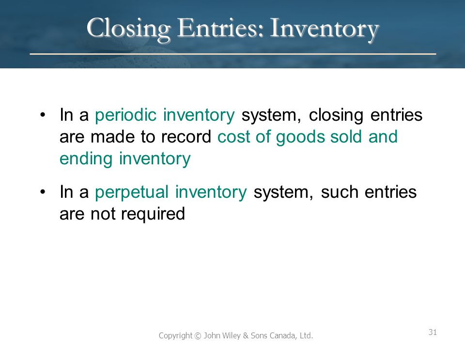 Closing Entries: Inventory