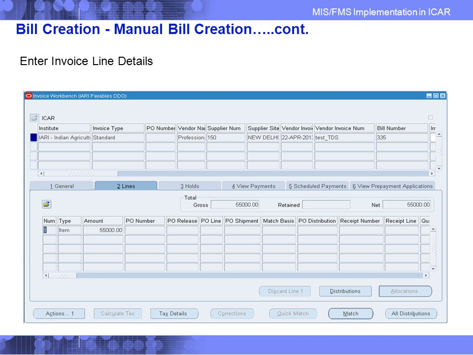 Bill Creation - Manual Bill Creation…..cont.
