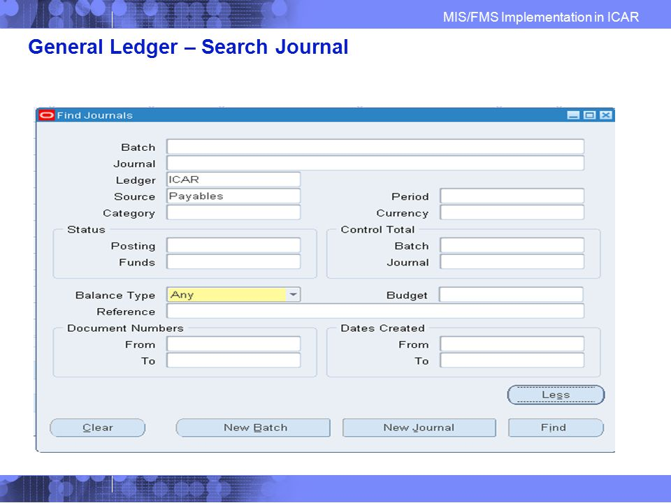General Ledger – Search Journal