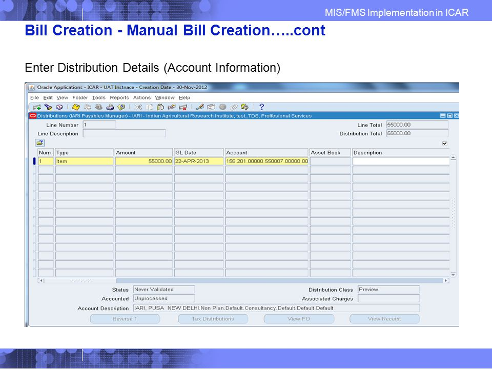 Bill Creation - Manual Bill Creation…..cont