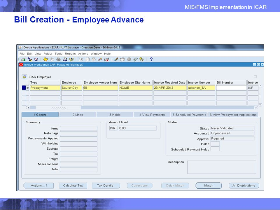 Bill Creation - Employee Advance