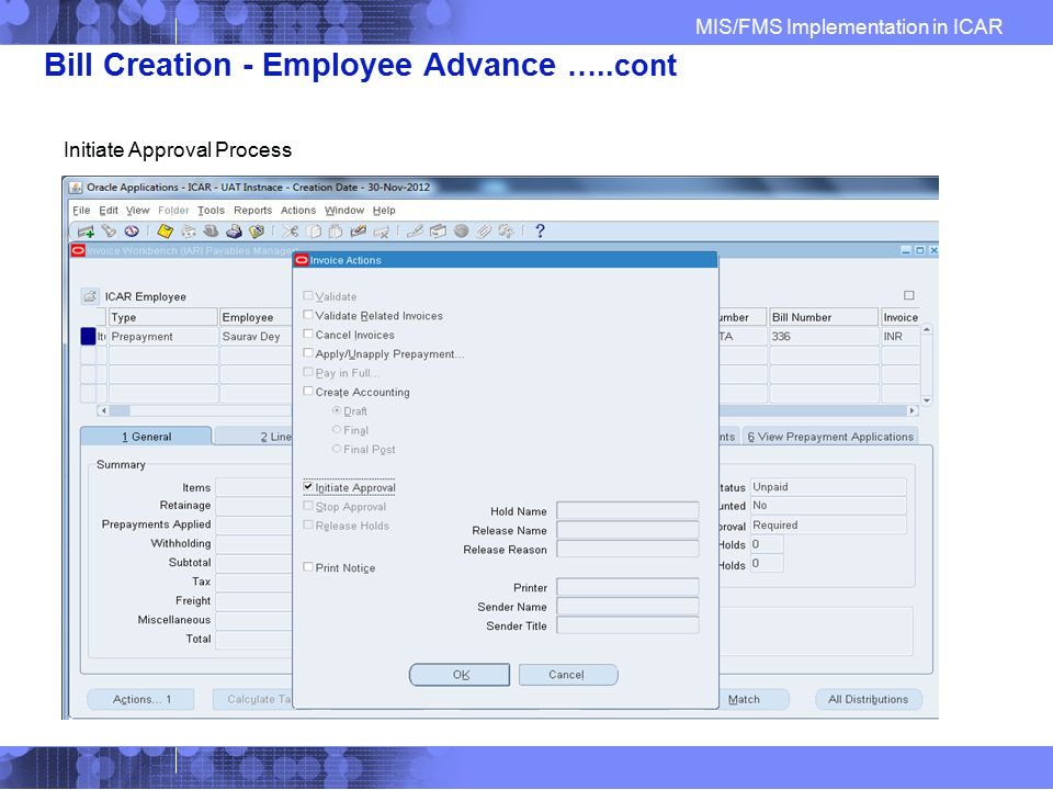 Bill Creation - Employee Advance …..cont