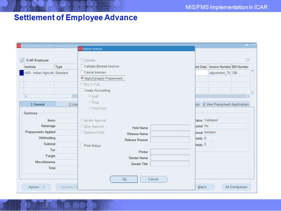 Settlement of Employee Advance