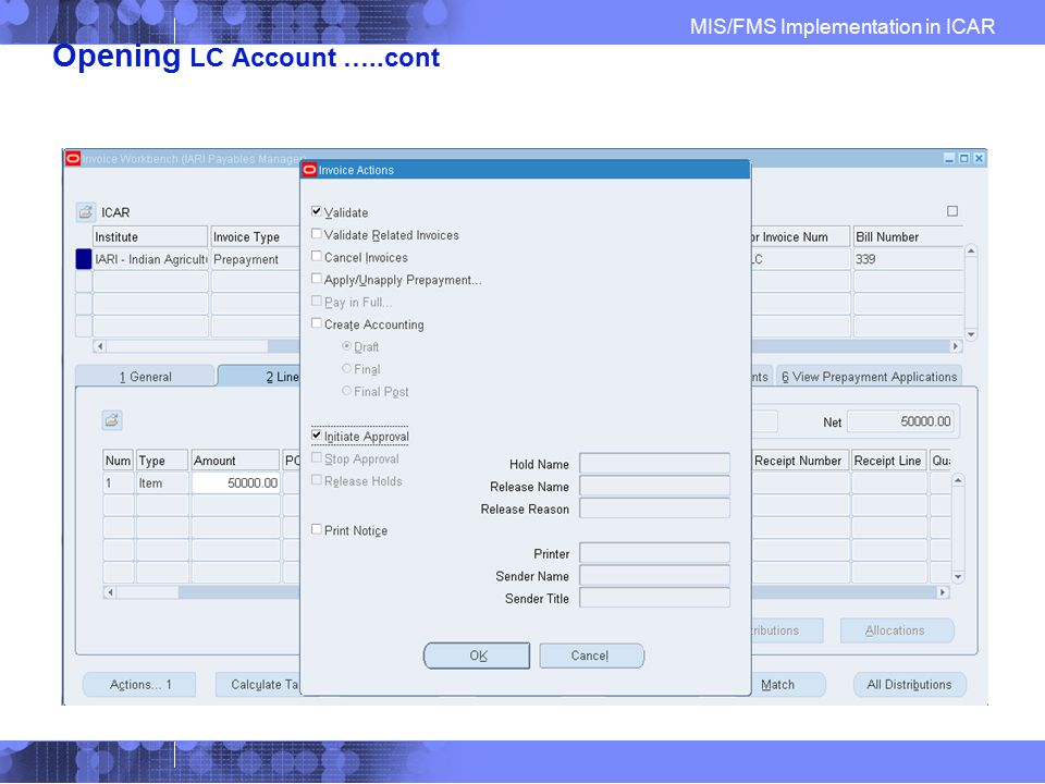 Opening LC Account …..cont