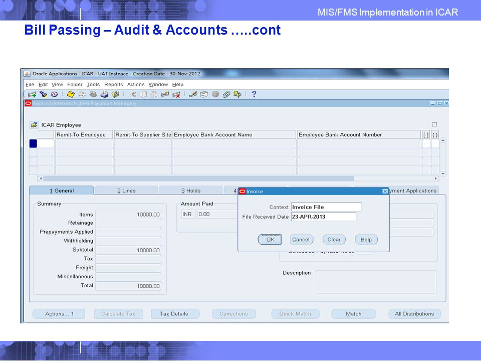 Bill Passing – Audit & Accounts …..cont