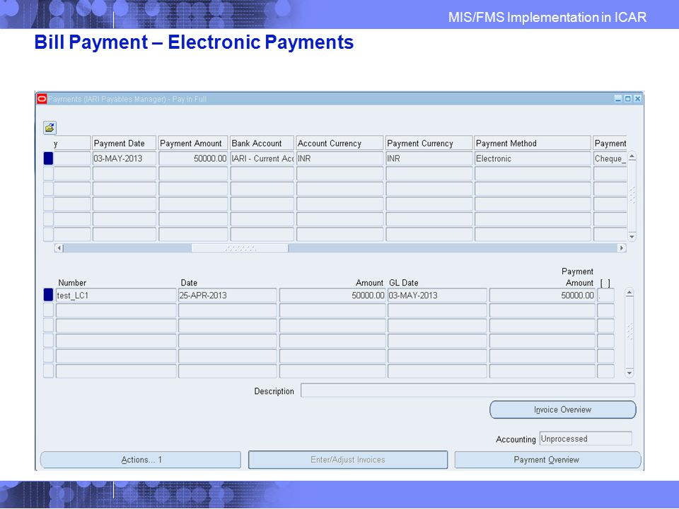 Bill Payment – Electronic Payments