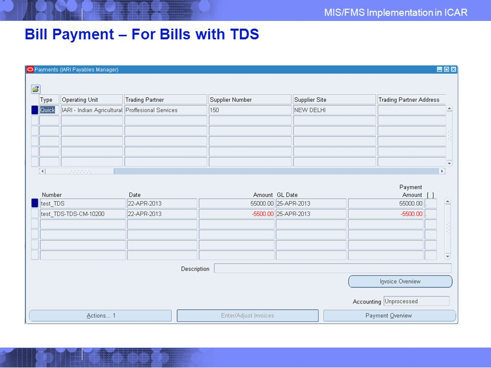 Bill Payment – For Bills with TDS