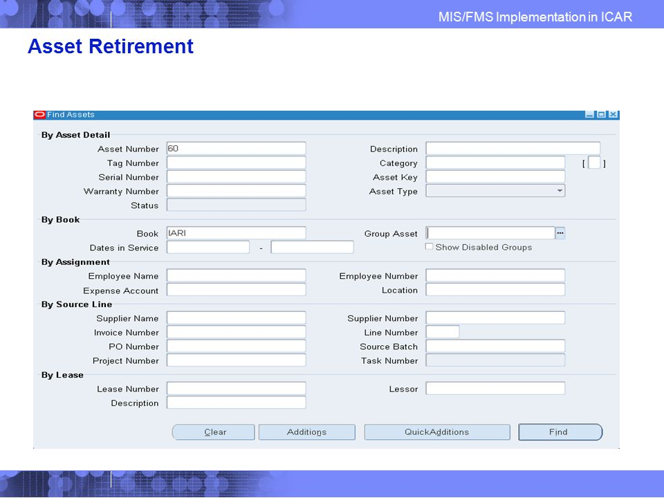 Asset Retirement Find Asset to Retire