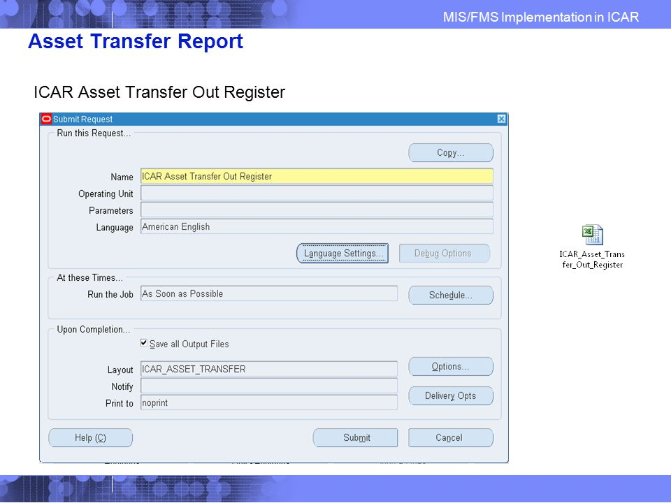Asset Transfer Report ICAR Asset Transfer Out Register