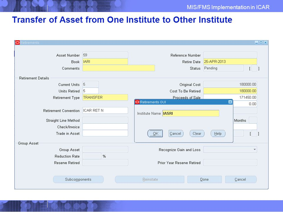 Transfer of Asset from One Institute to Other Institute