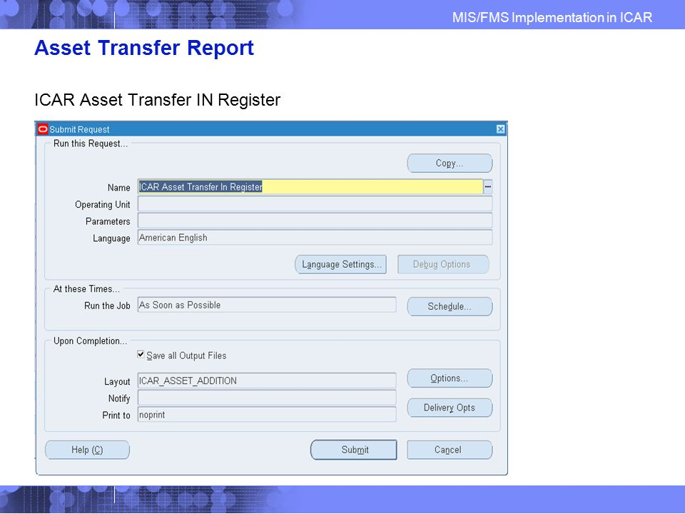 Asset Transfer Report ICAR Asset Transfer IN Register