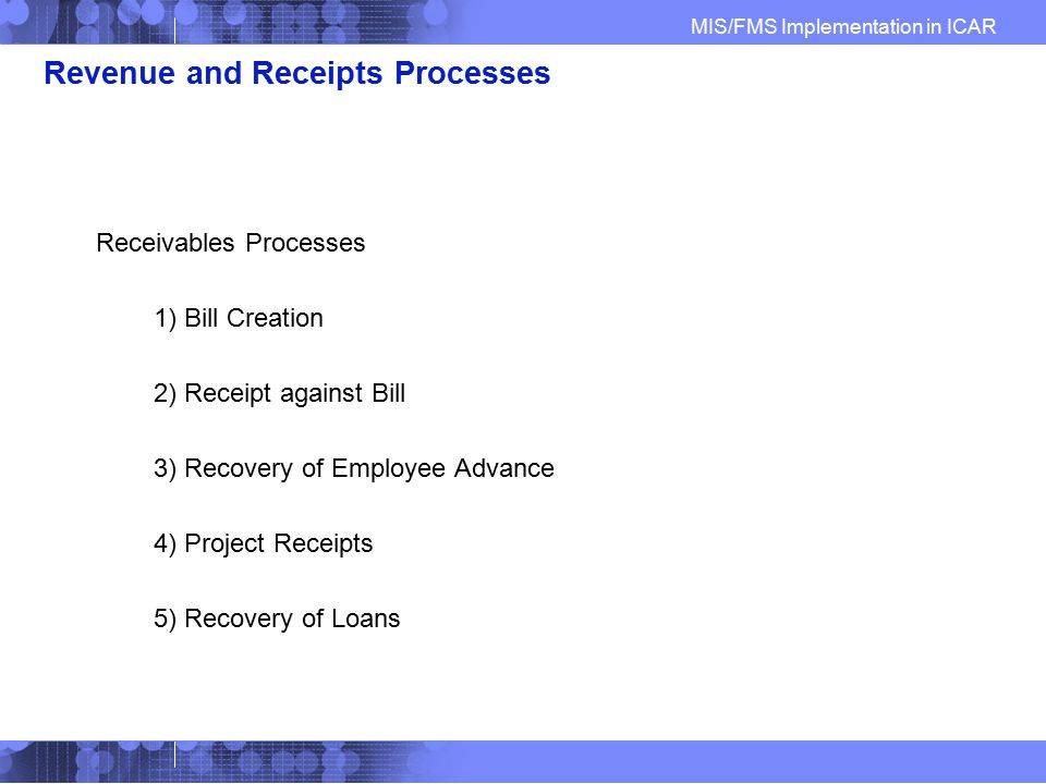 Revenue and Receipts Processes
