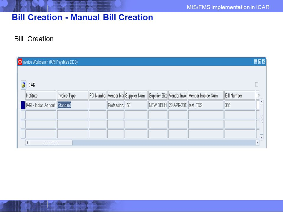 Bill Creation - Manual Bill Creation