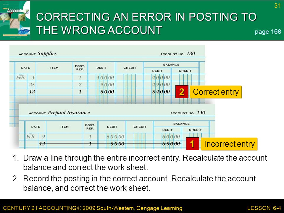 CORRECTING AN ERROR IN POSTING TO THE WRONG ACCOUNT