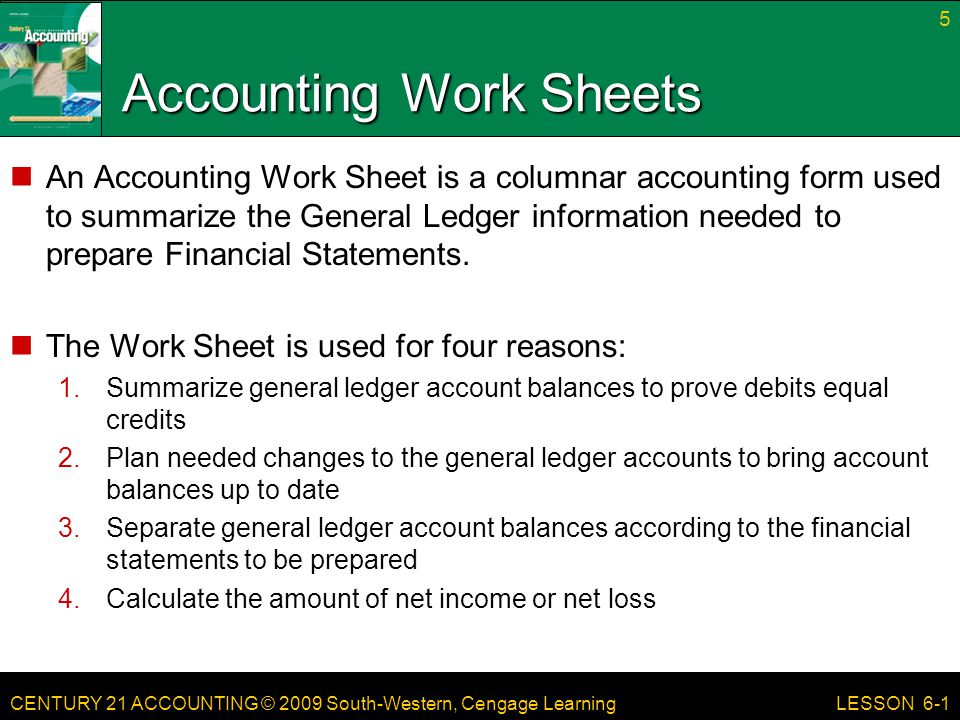 Accounting Work Sheets
