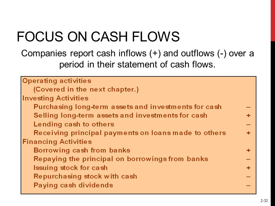 Focus on Cash Flows Companies report cash inflows (+) and outflows (-) over a period in their statement of cash flows.