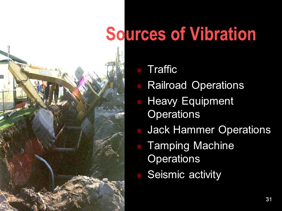 Sources of Vibration Traffic Railroad Operations