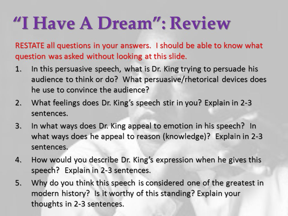rhetorical devices used in i have a dream speech
