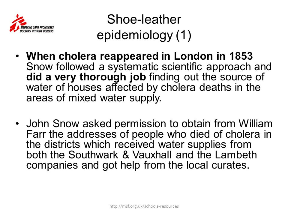Shoe Leather Epidemiology
