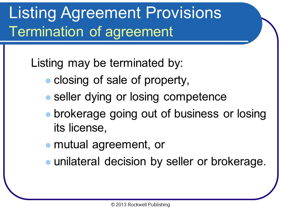 Listing Agreement Provisions Termination Of Agreement