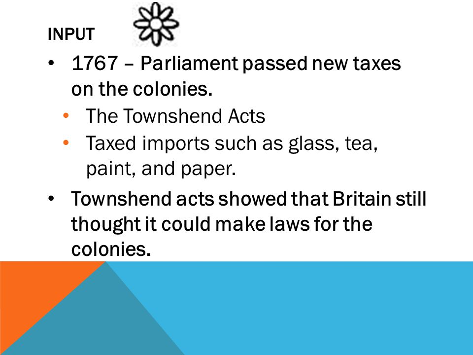 1767 – Parliament passed new taxes on the colonies. The Townshend Acts