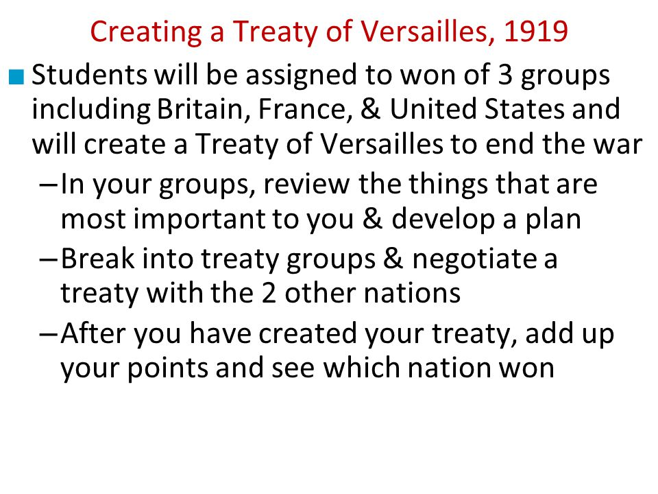 causes of wwi treaty of versailles essay According to weinberg, the dissatisfaction with the treaty of versailles, after germany surrendered in 1918 and having been forced to sign for the treaty sparked the war that included them taking the blame for the first world war, reducing the territories and agreeing to disarm and diminish the military power.