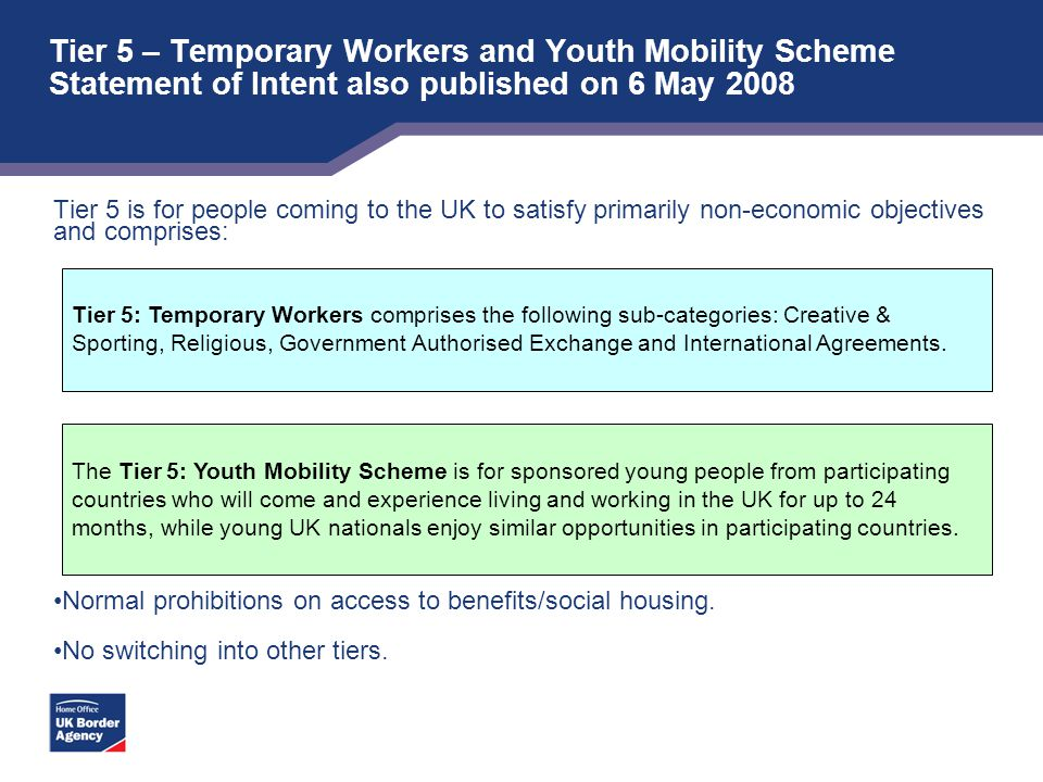 Tier 5 – Temporary Workers and Youth Mobility Scheme Statement of Intent also published on 6 May 2008