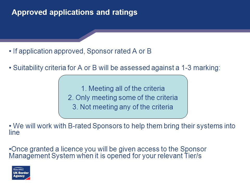 Approved applications and ratings