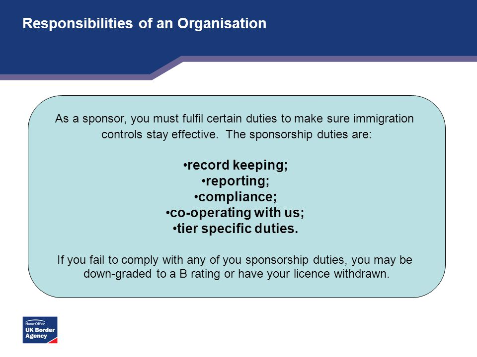 Responsibilities of an Organisation