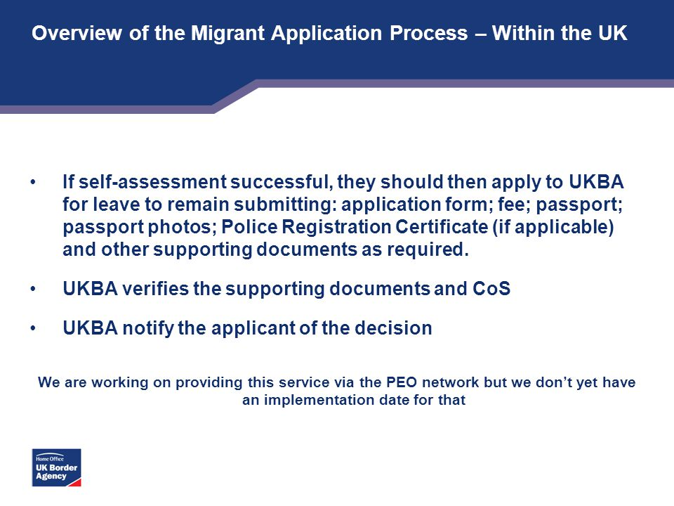 Overview of the Migrant Application Process – Within the UK