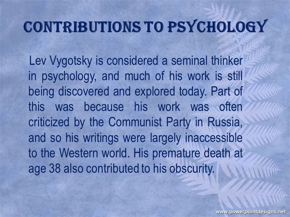 Contributions to Psychology